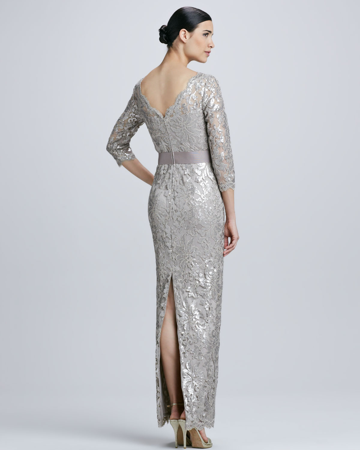 Tadashi Shoji Sequined Lace Boatneck Gown in Metallic - Lyst