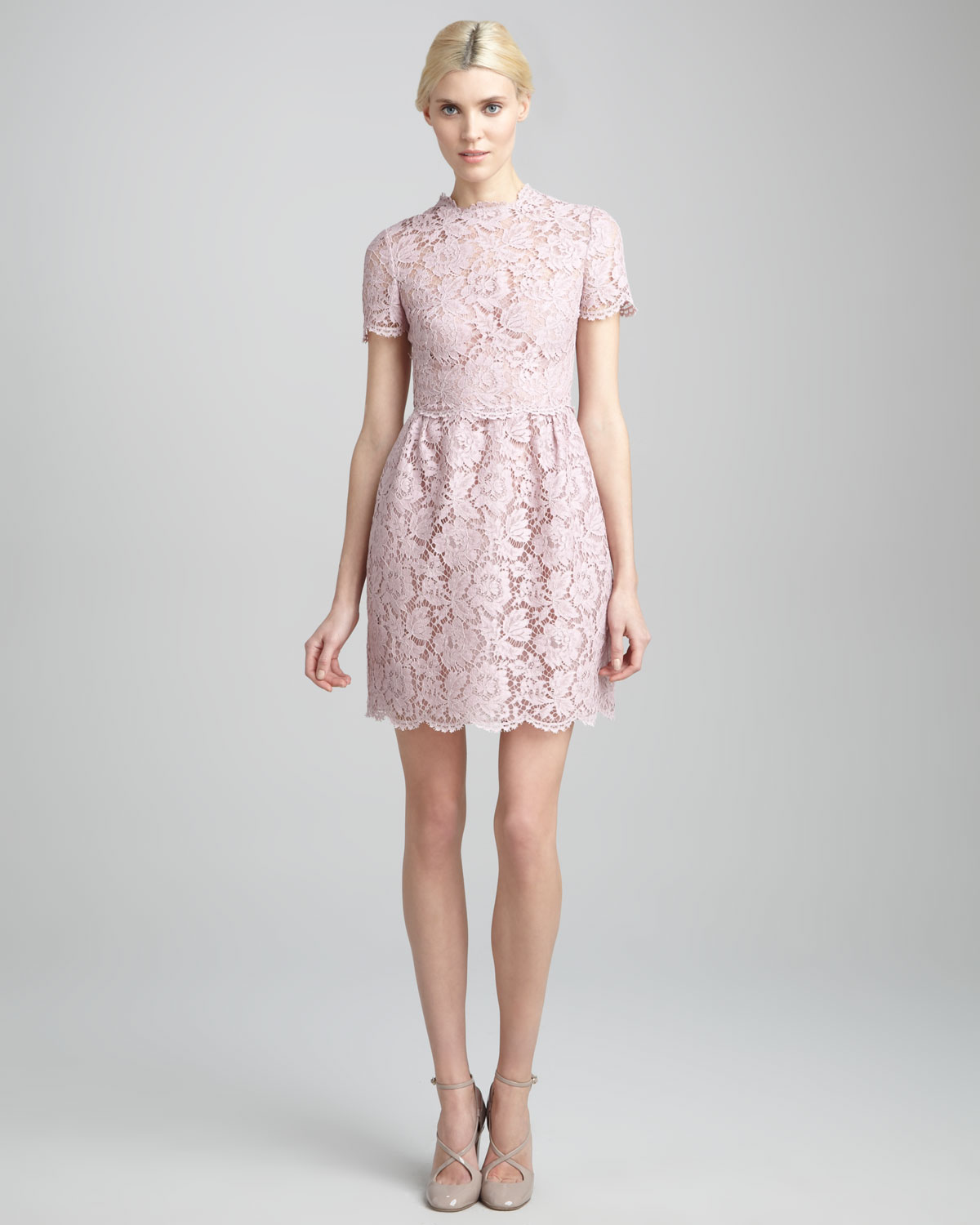 Valentino Short-sleeve Floral Lace Dress Rosa In Pink