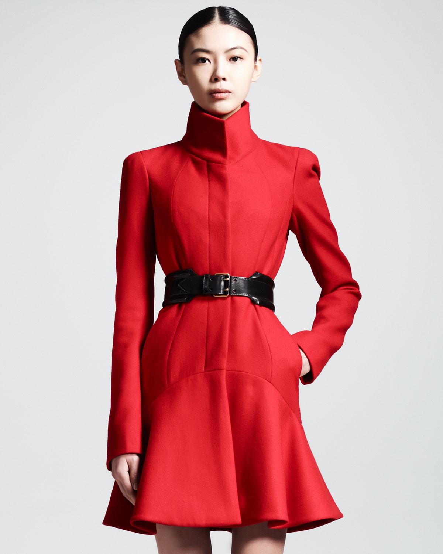 Lyst Alexander Mcqueen Crepe Wool Flouncehem Dress Coat