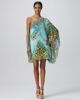 Badgley Mischka One Shoulder Cocktail Caftan - Lyst