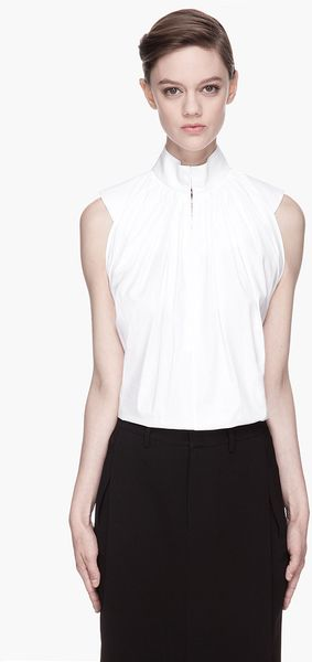 Givenchy White Gathered Poplin Blouse - Lyst