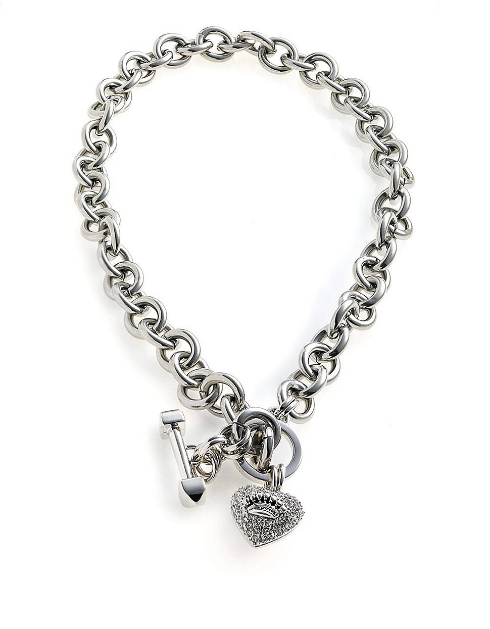 Juicy couture pave heart and toggle luxe necklace in for Juicy couture jewelry necklace