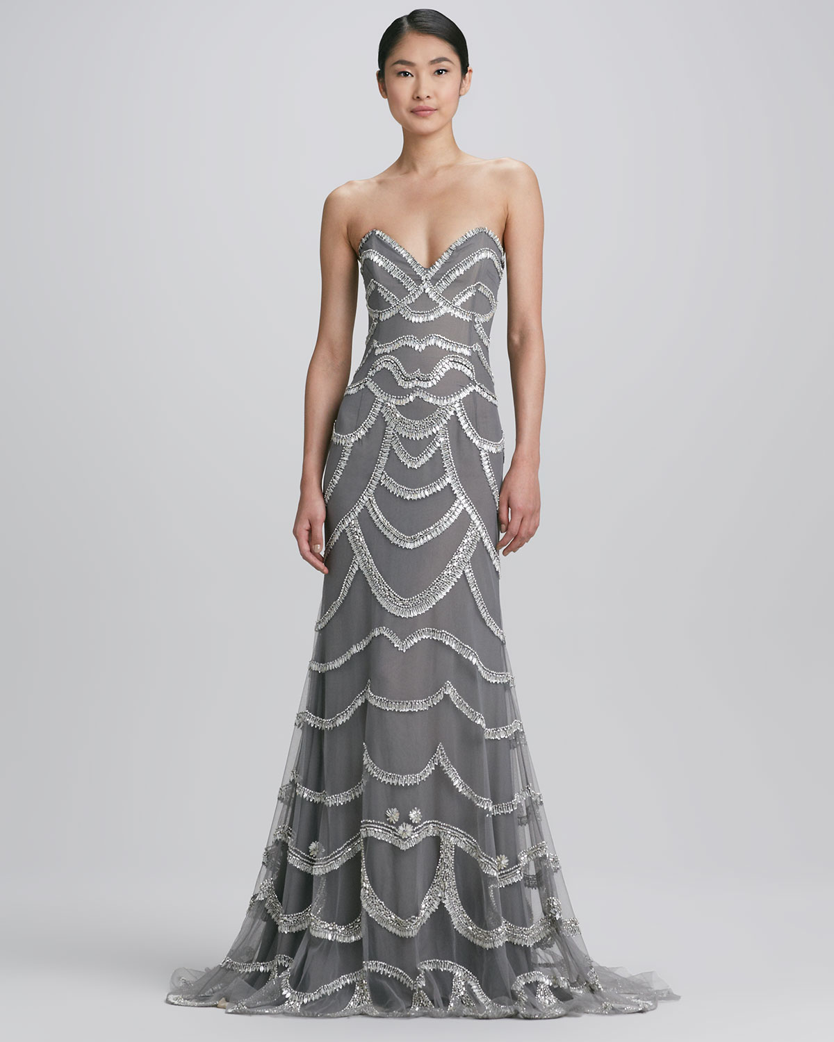 Naeem khan Beaded Strapless Gown in Metallic - Lyst