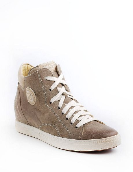 paul green palma leather hightop sneakers in brown taupe lyst. Black Bedroom Furniture Sets. Home Design Ideas