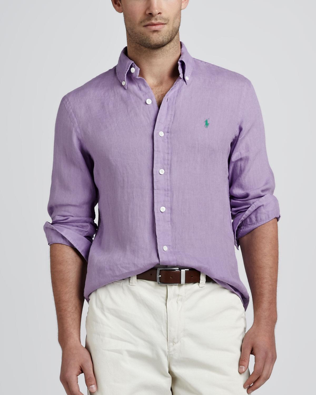Lyst Polo Ralph Lauren Linen Sport Shirt Hampton Lilac In Purple