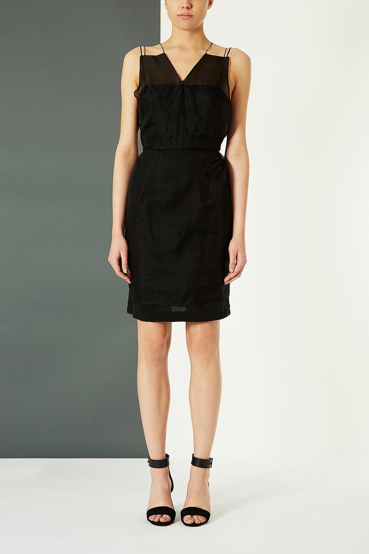 Pleated Drape Dress - Black | Draped dress, Dresses