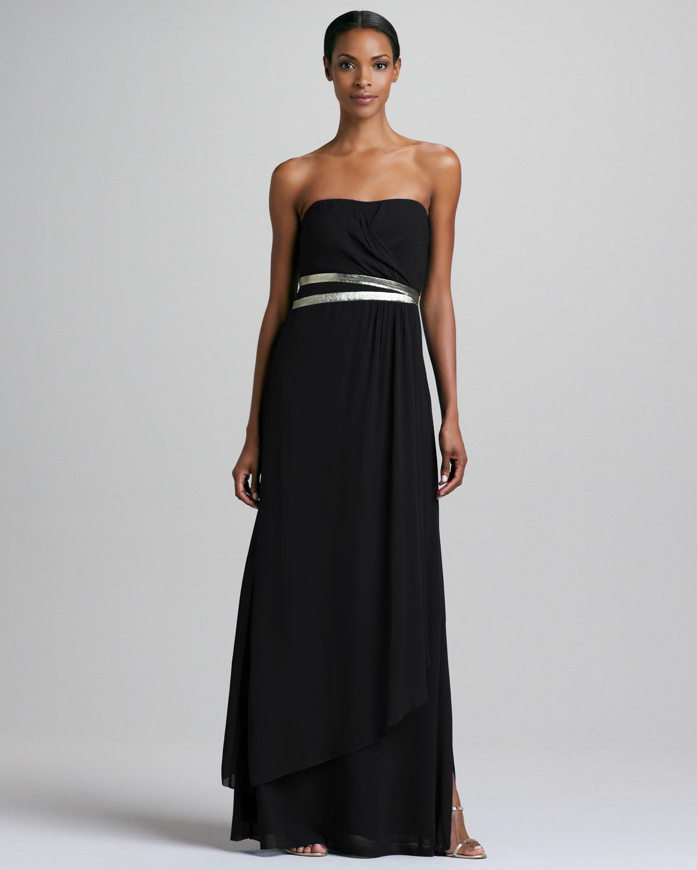 Lyst - Nicole Miller Strapless Gown with Metallic Belt in ...
