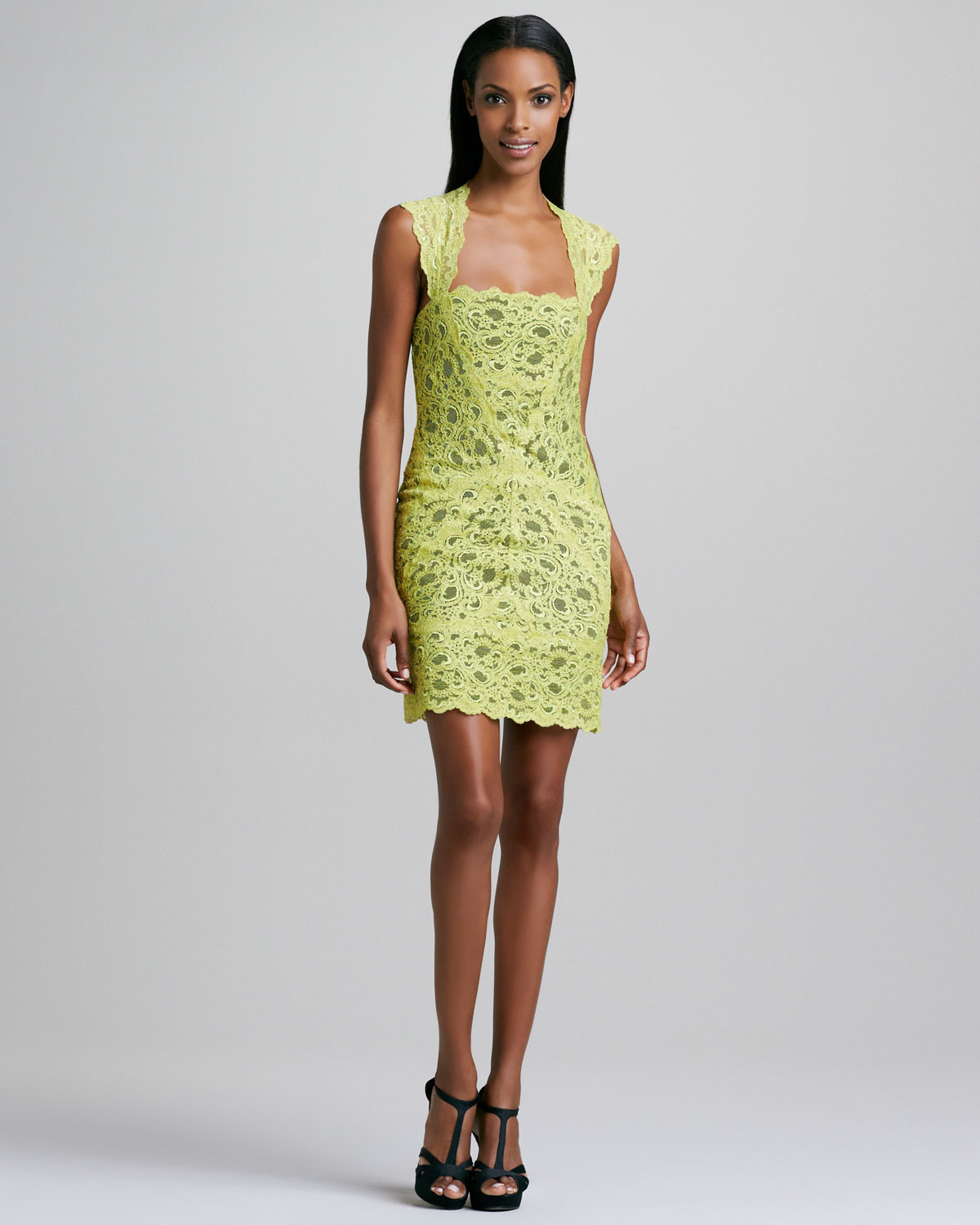 Nicole miller Laceoverlay Cocktail Dress in Green | Lyst