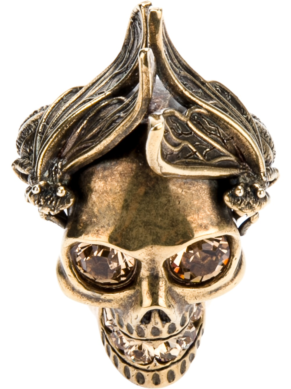 Alexander Mcqueen Bee Skull Ring In Gold Lyst