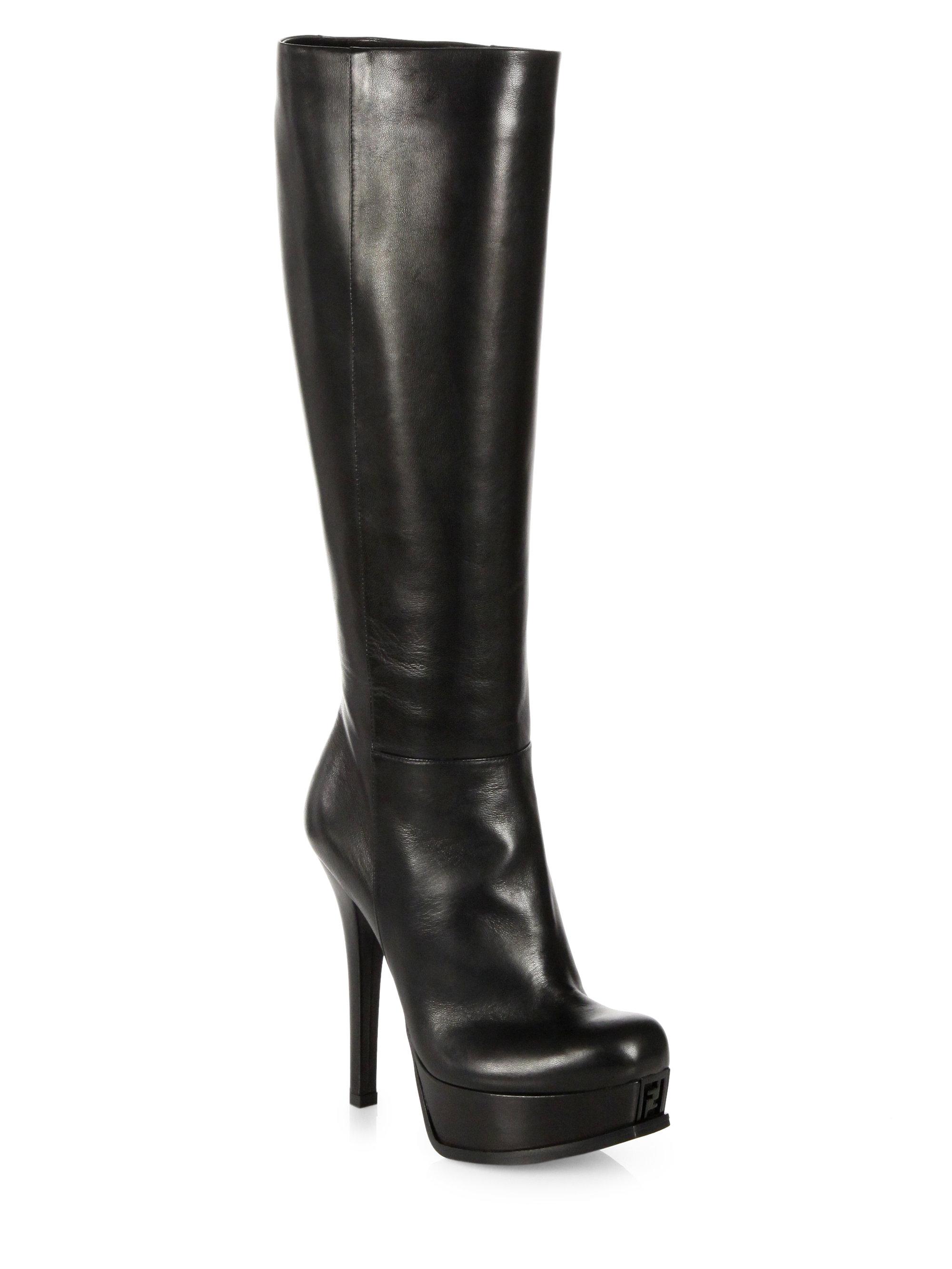 Fendi Sta Leather Kneehigh Platform Boots in Black | Lyst