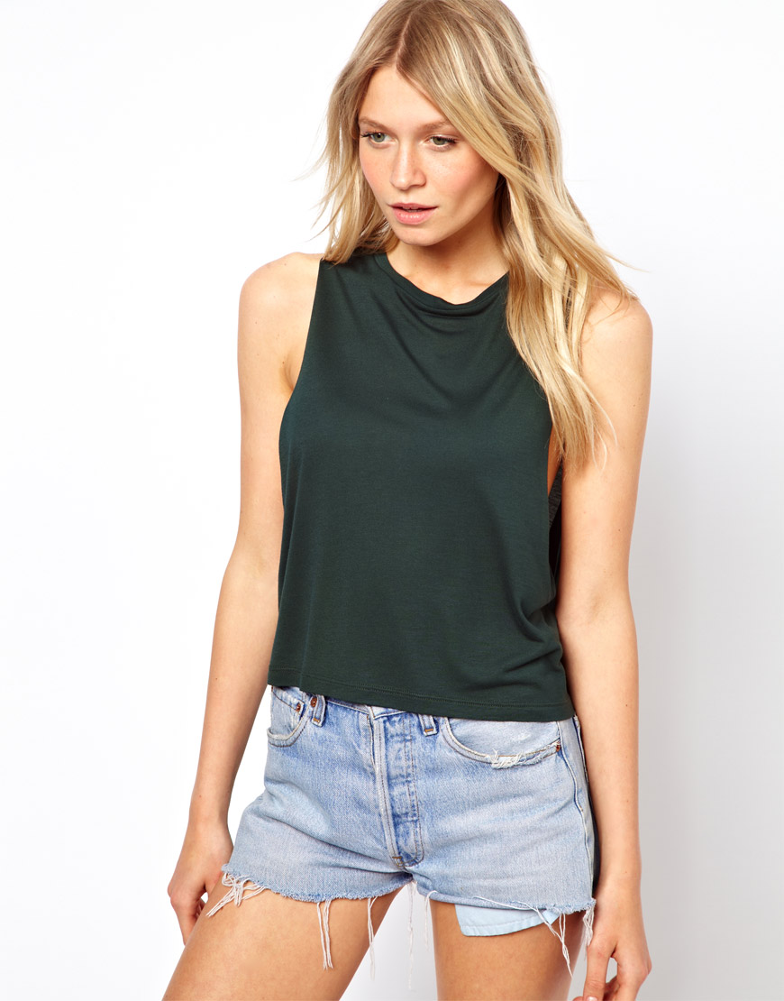 Asos Cropped Tank Top With High Neck In Black