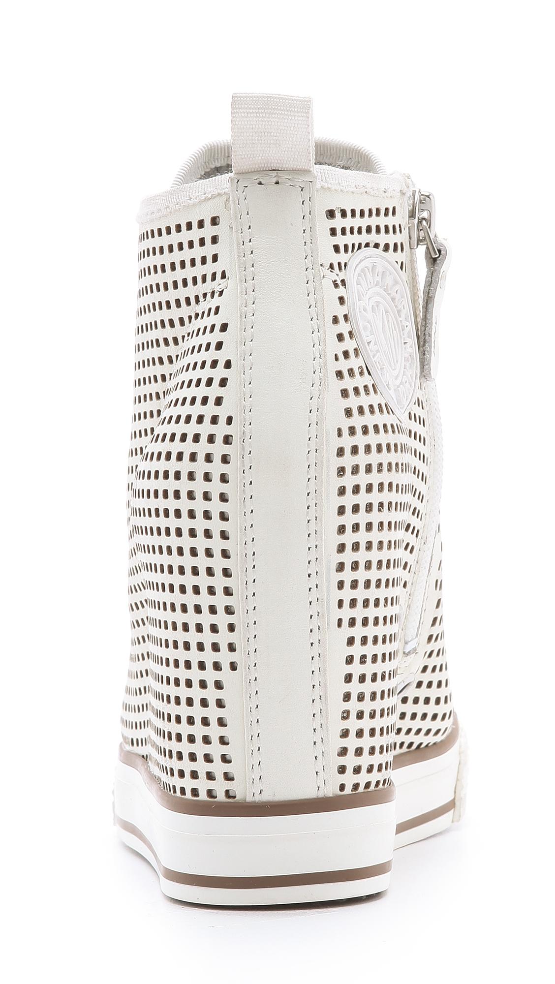 DKNY Grommet Wedge Sneakers in Grey