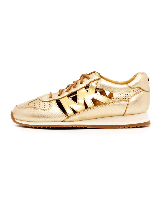 Michael Kors Logocutout Sneakers in Gold (Metallic) Lyst