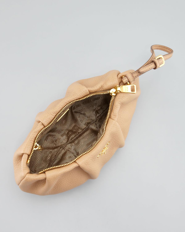 Prada Daino Pleated Wristlet Clutch Bag in Pink (beige) | Lyst