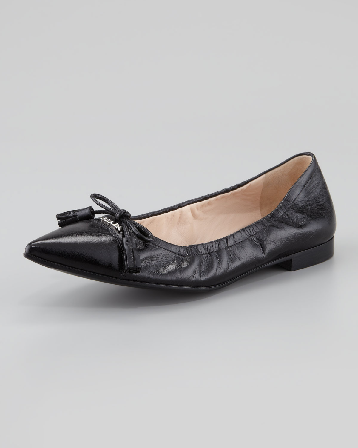 best quality detailed images quality design Prada Leather Tassel Pointedtoe Ballet Flat in Black - Lyst
