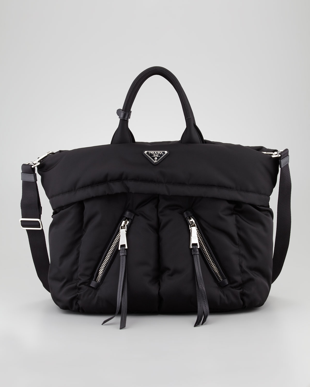 Prada Tessuto Bomber Diagonal Zip Tote Bag In Black Lyst