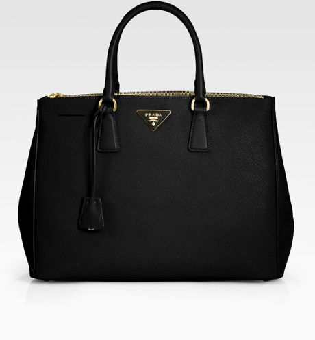 Prada Saffiano Lux Double Zip Tote Bag in Black
