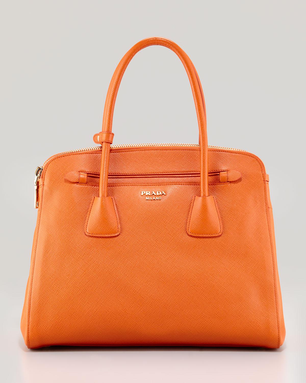 578e6d081d9d Lyst - Prada Saffiano Cuir Large Double Zip Tote Bag in Orange