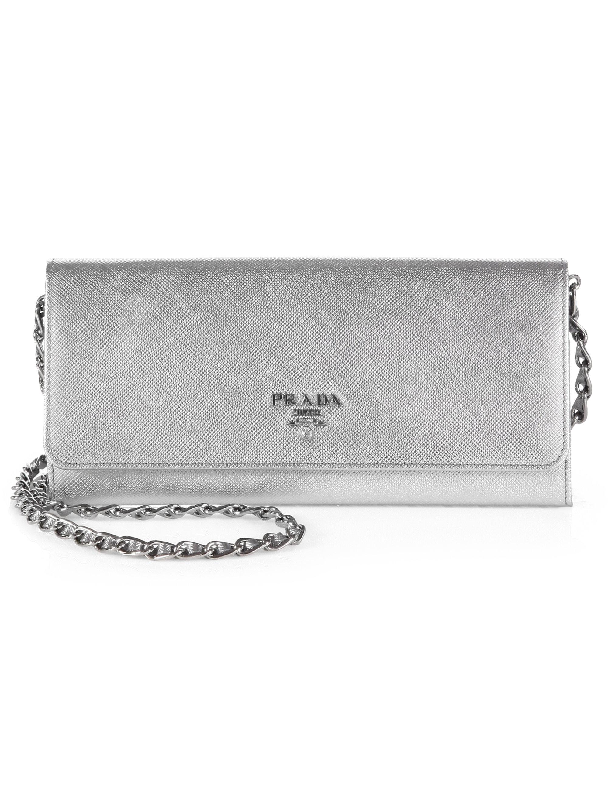 Prada Saffiano Metal Oro Wallet with Chain in Silver (platino ...
