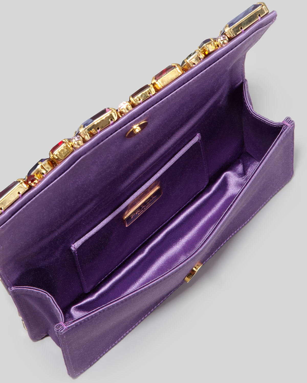 Prada Jeweled Satin Clutch Bag in Purple | Lyst