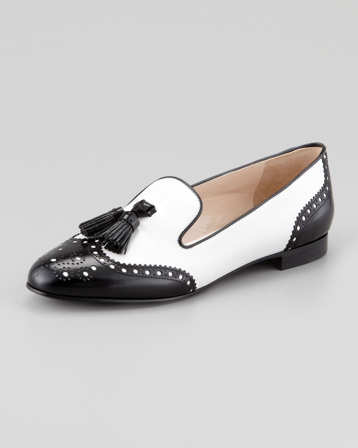 Lyst Prada Spazzolato Wingtip Tassel Loafer In White