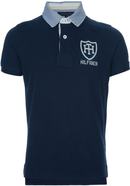 tommy hilfiger embroidered polo shirt in blue for men lyst. Black Bedroom Furniture Sets. Home Design Ideas