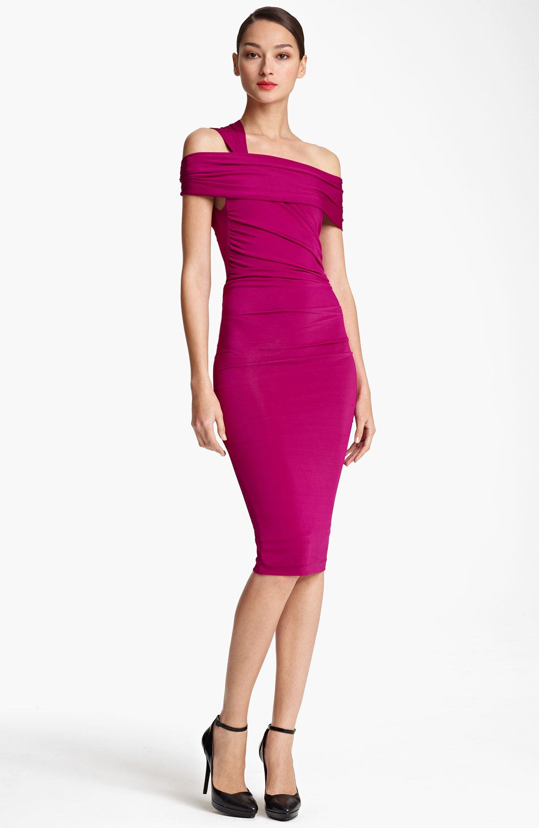 Donna karan new york collection cold shoulder jersey dress for Donna karan new york