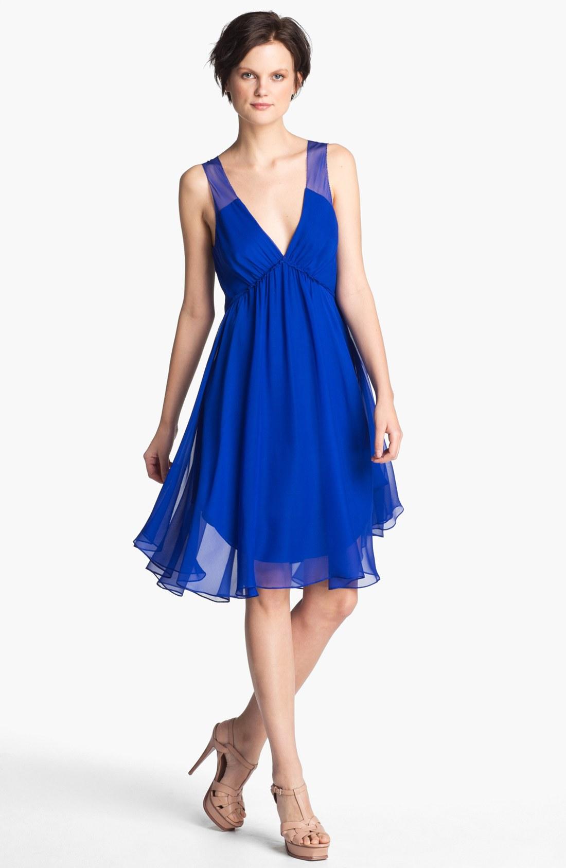 Haute Hippie Betsee Silk Chiffon Dress in Blue (cobalt ...