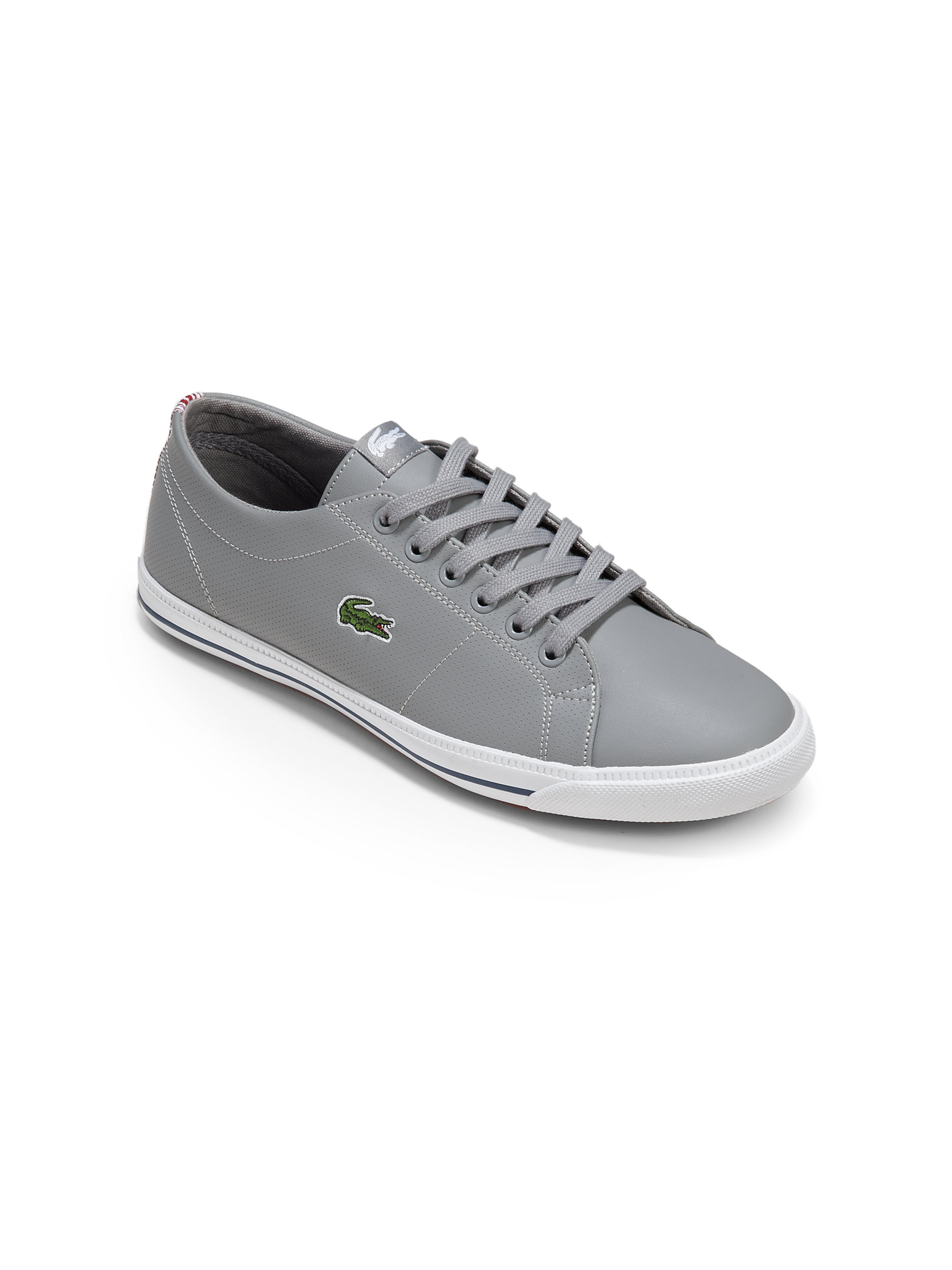 lyst lacoste boys leather sneakers in gray for men