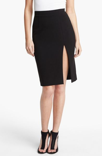 agence High Slit Pencil Skirt in Black | Lyst