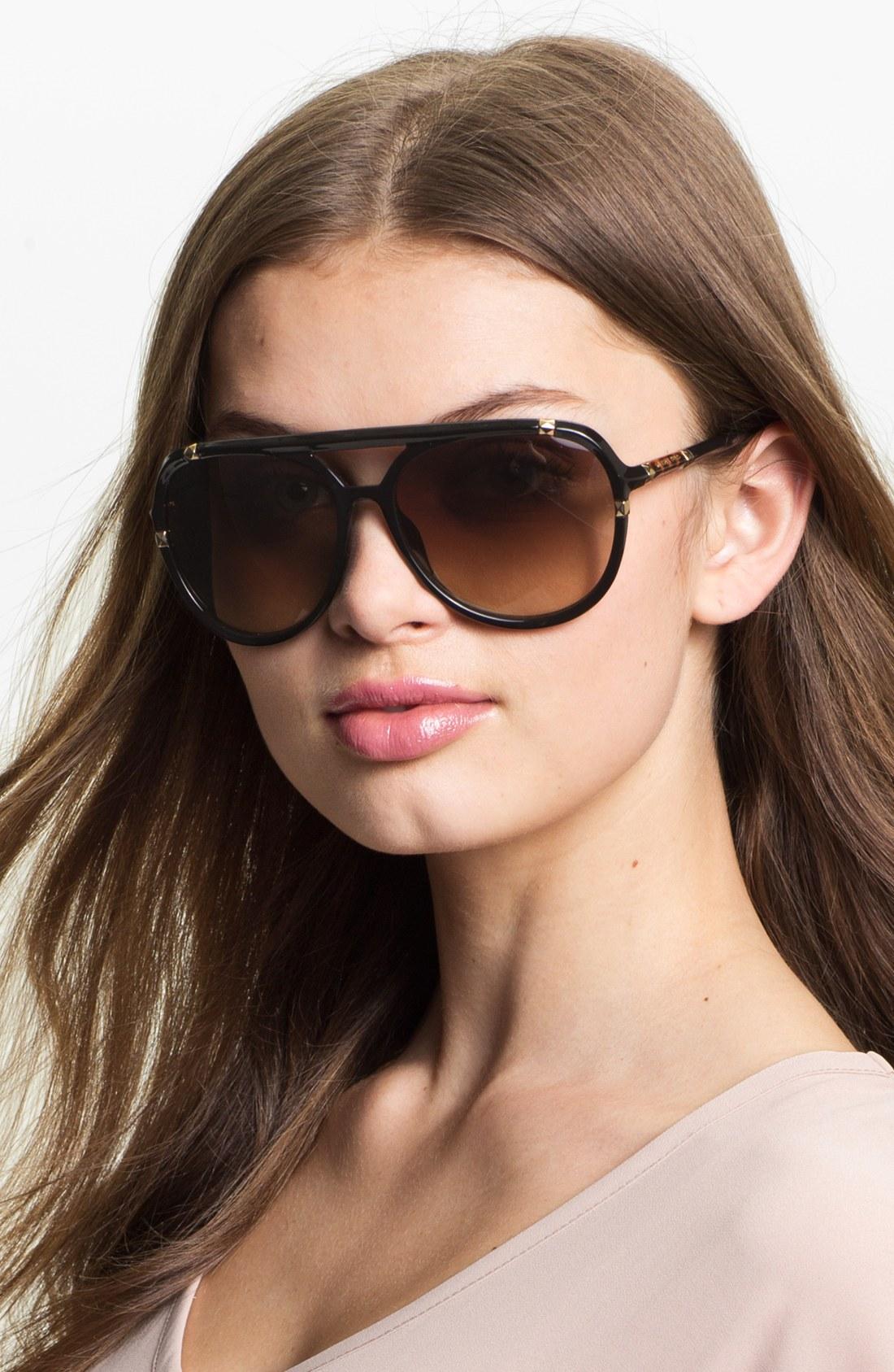 Michael Michael Kors Jemma 60mm Aviator Sunglasses In Black Lyst