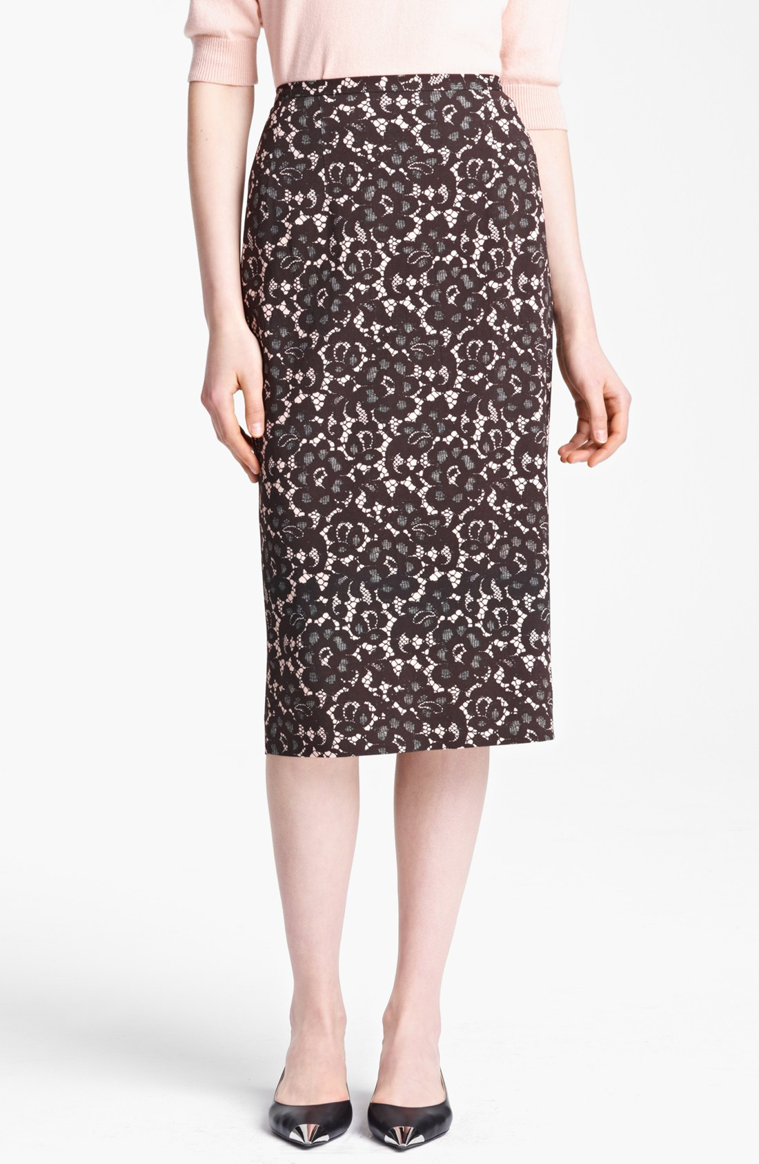michael kors guipure print stretch cady pencil skirt in