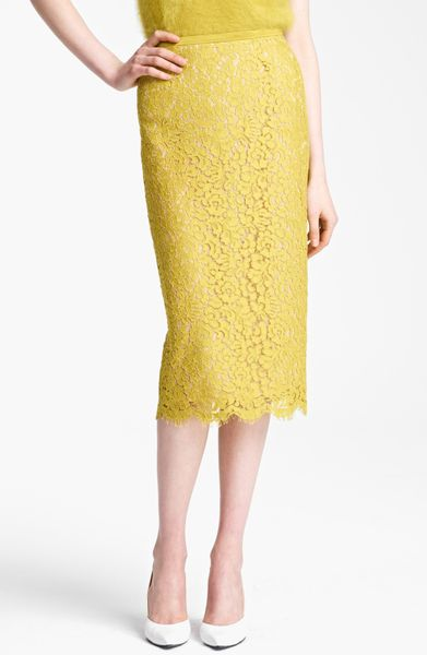michael kors floral lace pencil skirt in yellow