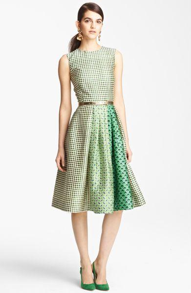 Oscar De La Renta Print Full Skirt Dress in Green (ivy)