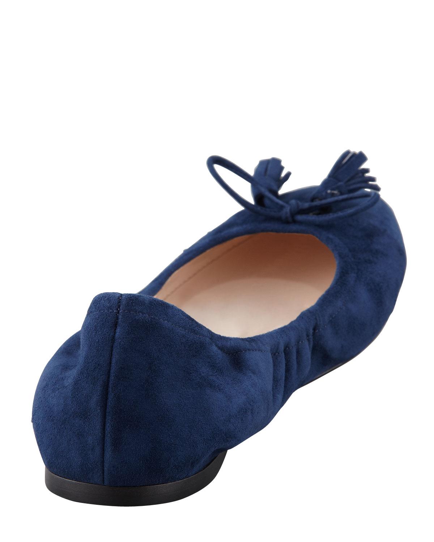 Prada Suede Tassel Ballet Flat Navy In Blue Lyst
