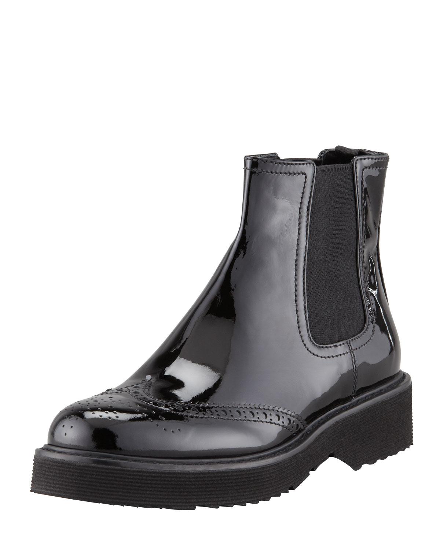 Prada Patent Leather Slipon Ankle Boot Black in Black for Men | Lyst
