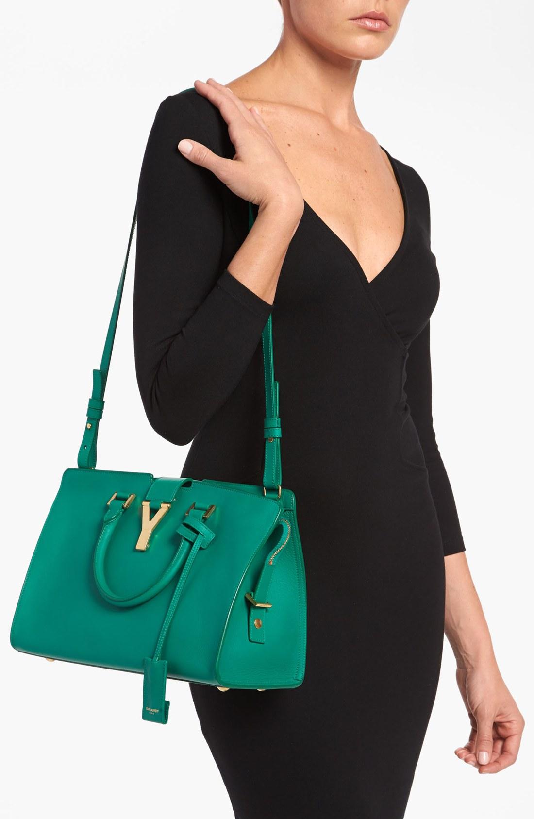 50e0bd14c1 ... Black saint laurent bags price - Saint laurent Petite Ligne Y Leather  Tote in Green (Emeraude Y Ligne Cuir Gras Mini Bag