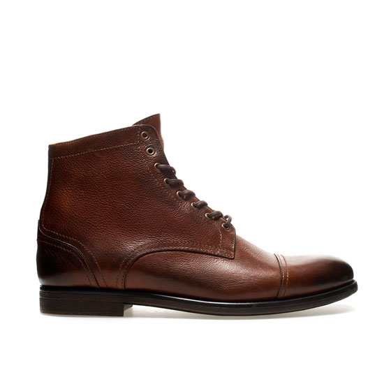 zara laceup boots in brown for leather lyst