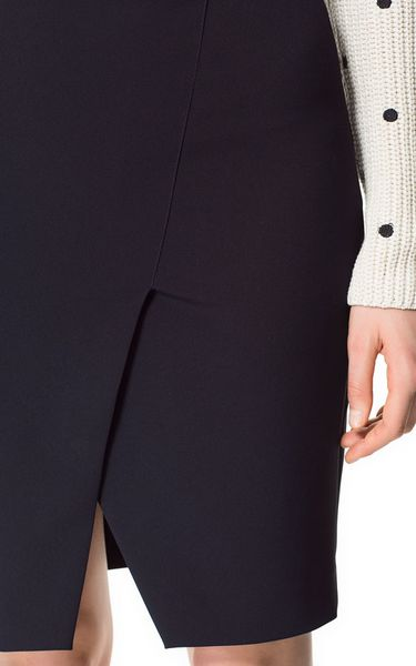 Zara Navy Blue Dress With Pencil Skirt 109