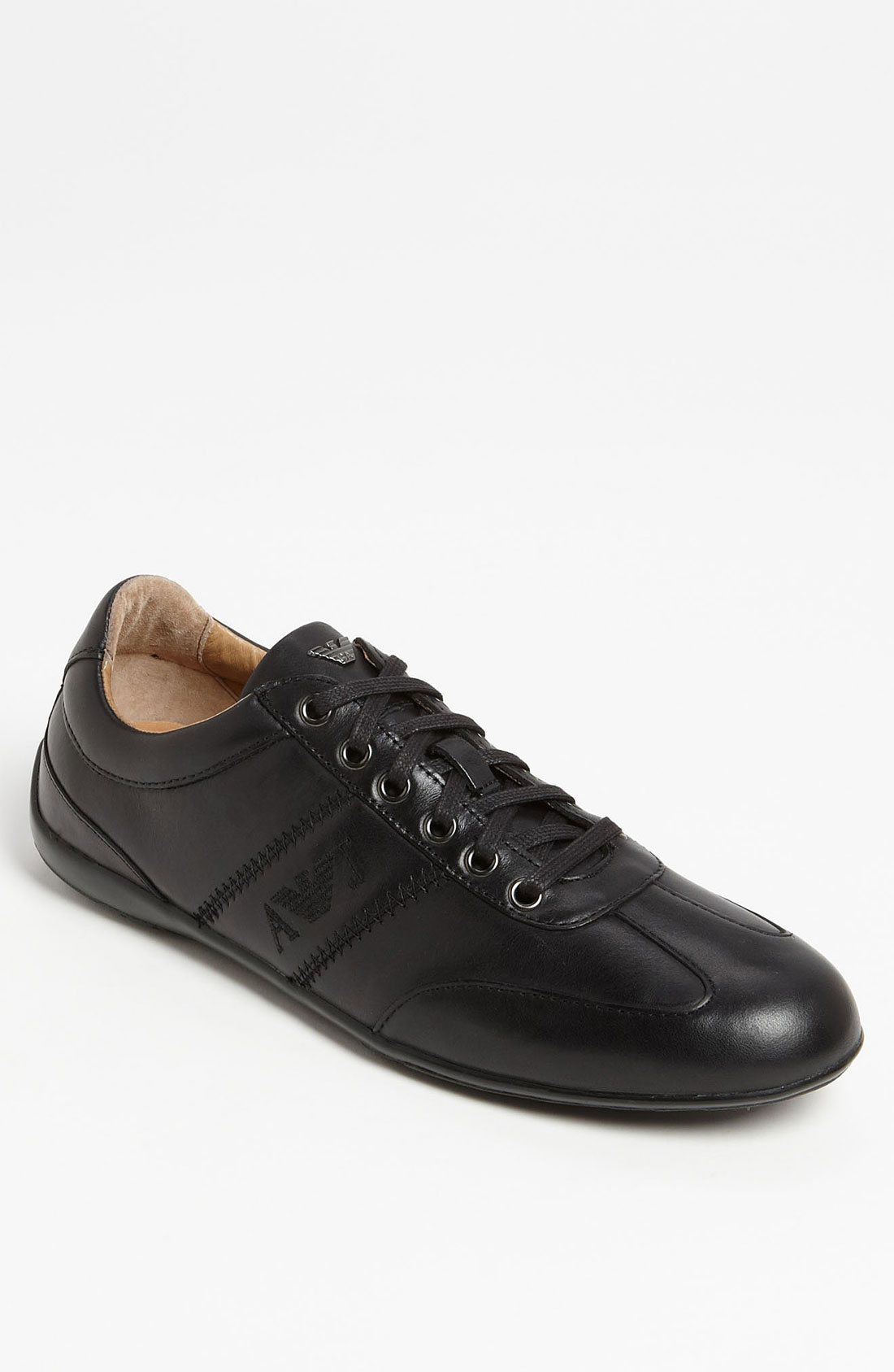 armani jeans leather sneaker in black for men lyst. Black Bedroom Furniture Sets. Home Design Ideas