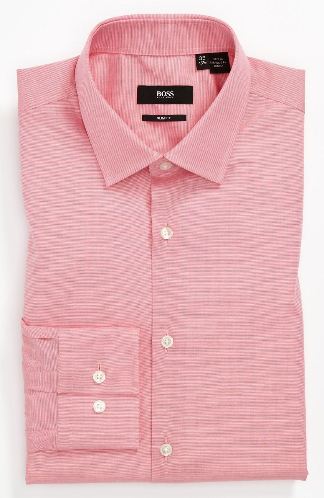 Boss black slim fit dress shirt in pink for men lyst for Mens dark pink dress shirt