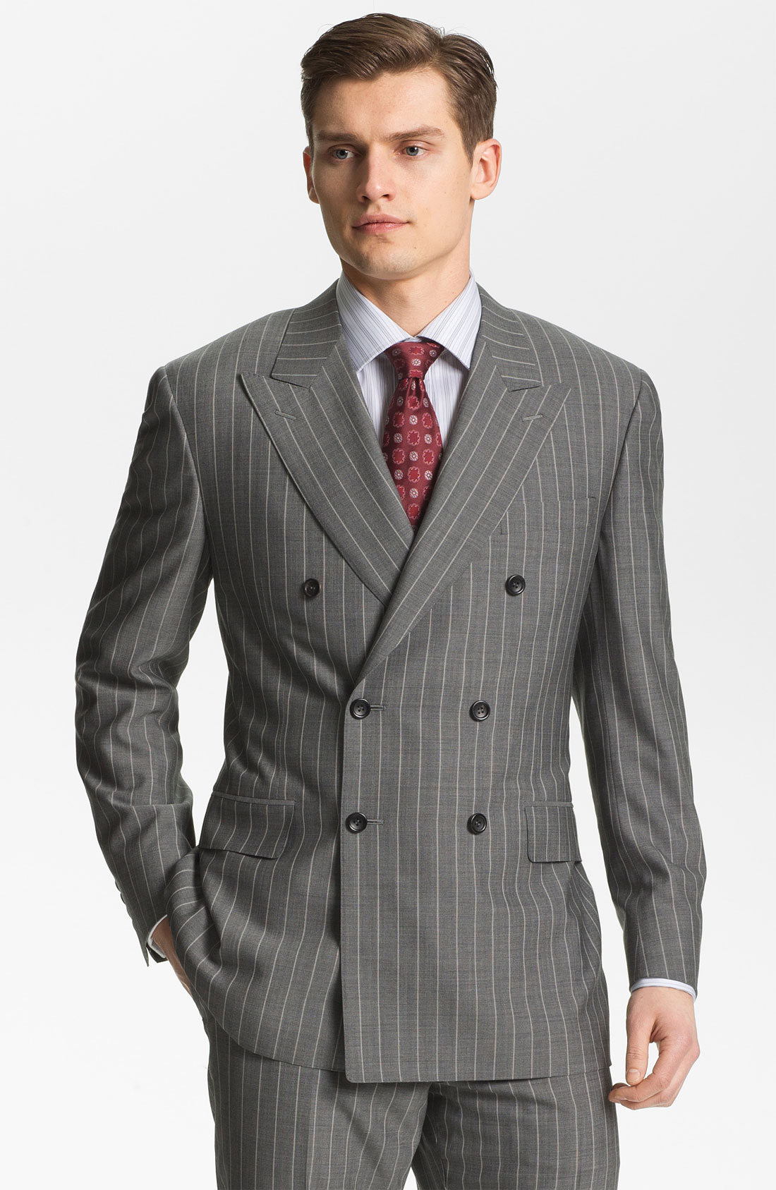 Canali Double Breasted Stripe Suit in Gray for Men | Lyst