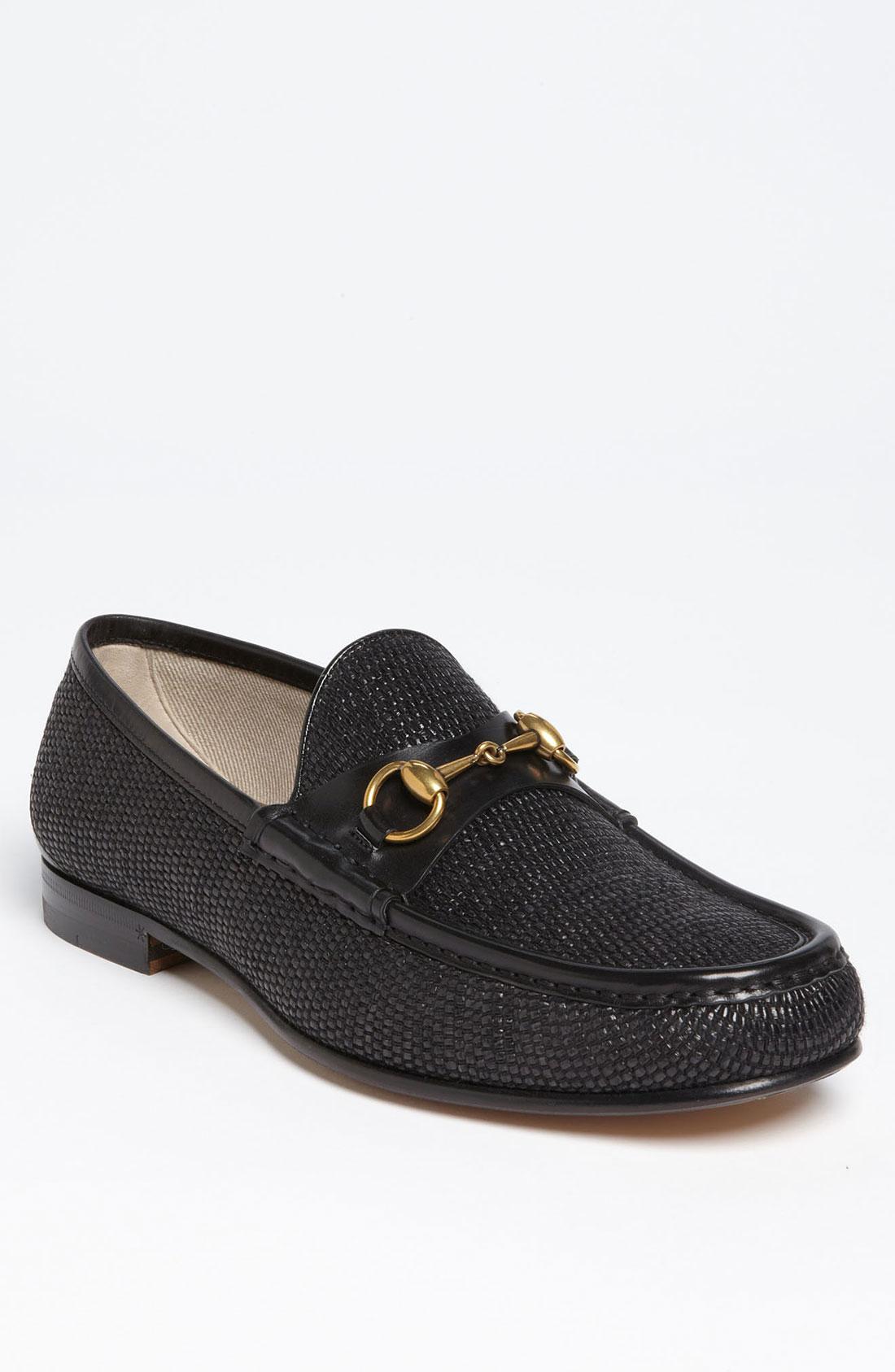 7ecda829df1 Gucci Roos Straw Bit Loafer in Black for Men