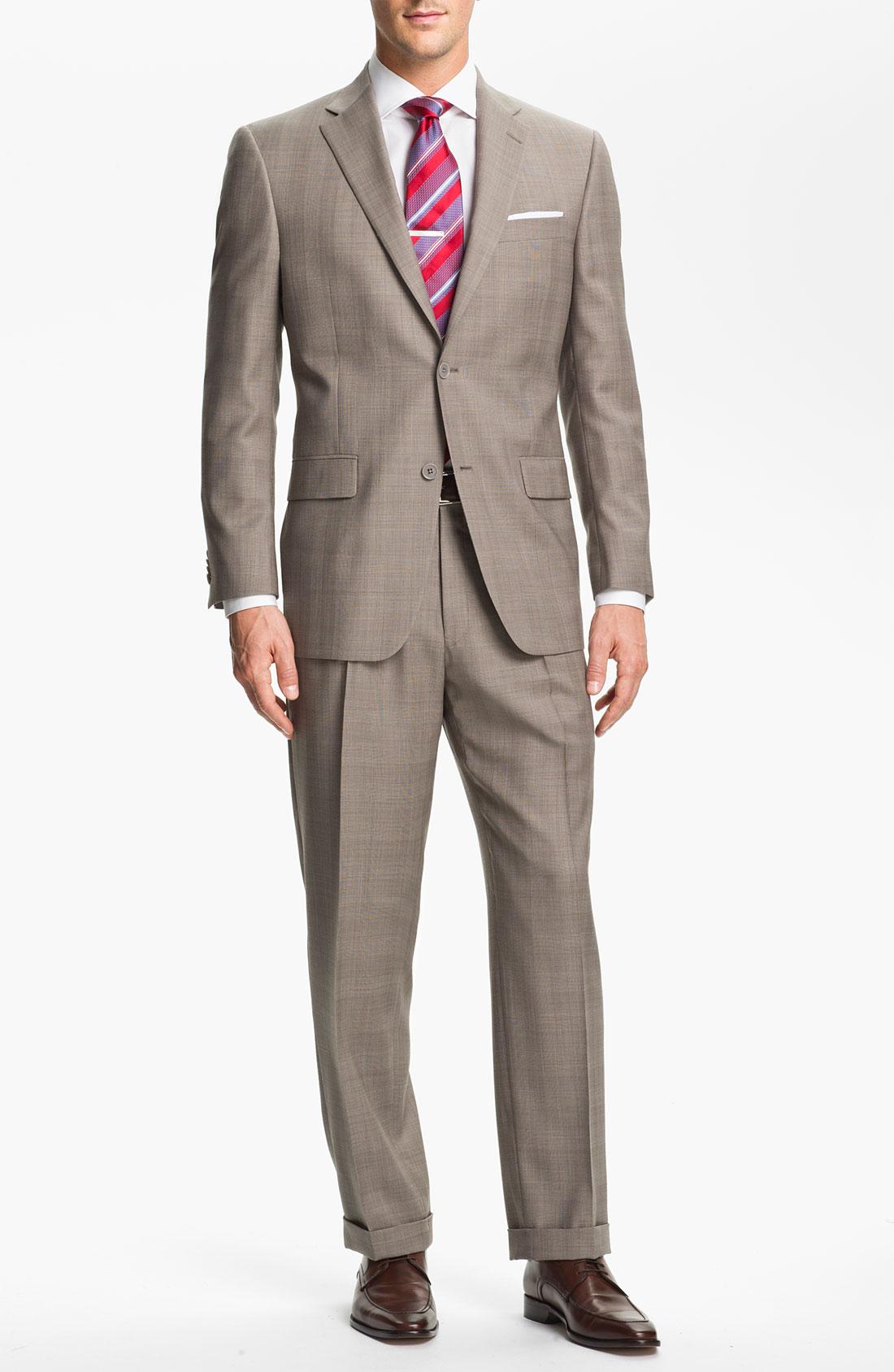 Hart Schaffner Marx Worsted Wool Suit In Brown For Men