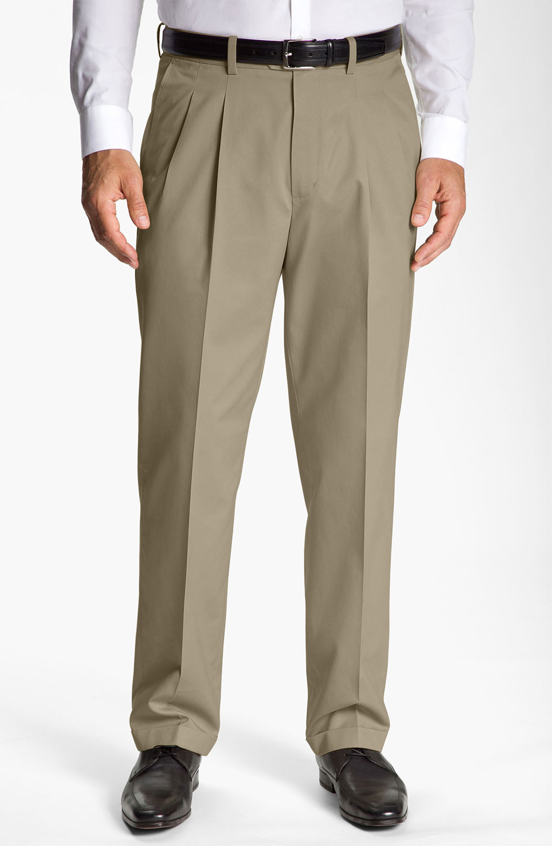 John W. Nordstrom® Smartcare Pleated Supima Cotton Pants ...