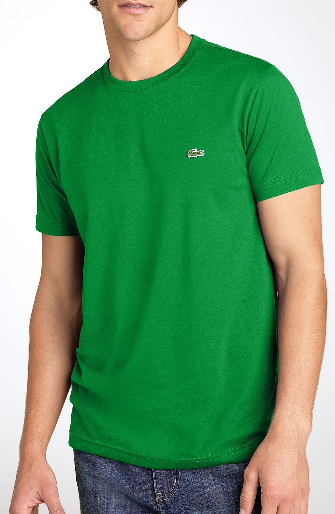 lacoste croc logo pima cotton crewneck tshirt in green for. Black Bedroom Furniture Sets. Home Design Ideas
