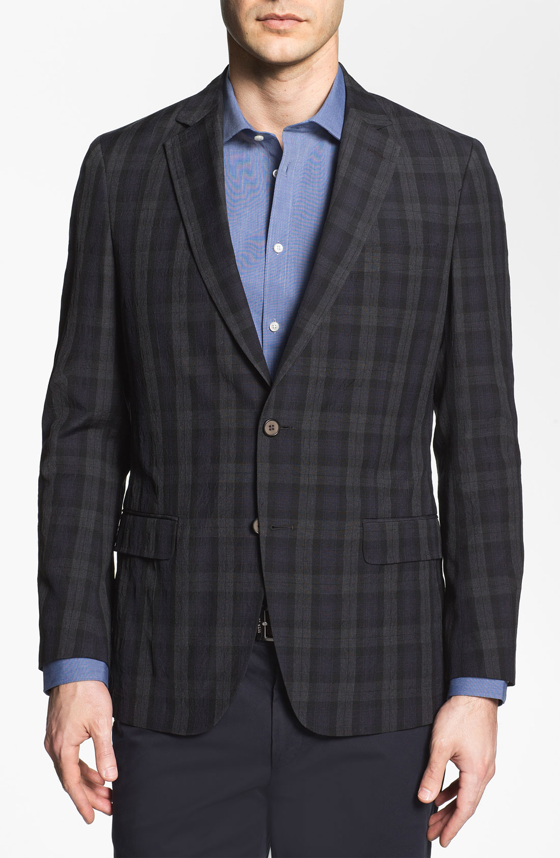 Michael Kors Trim Fit Plaid Wool Sportcoat In Gray For Men
