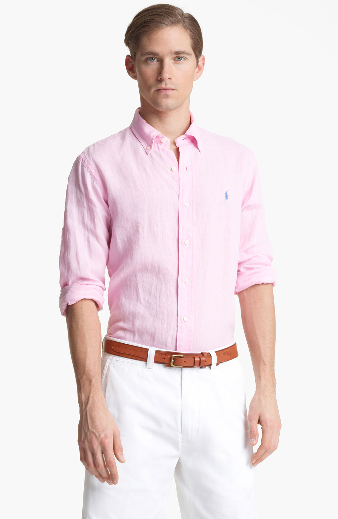 polo ralph lauren custom fit linen sport shirt in pink for. Black Bedroom Furniture Sets. Home Design Ideas