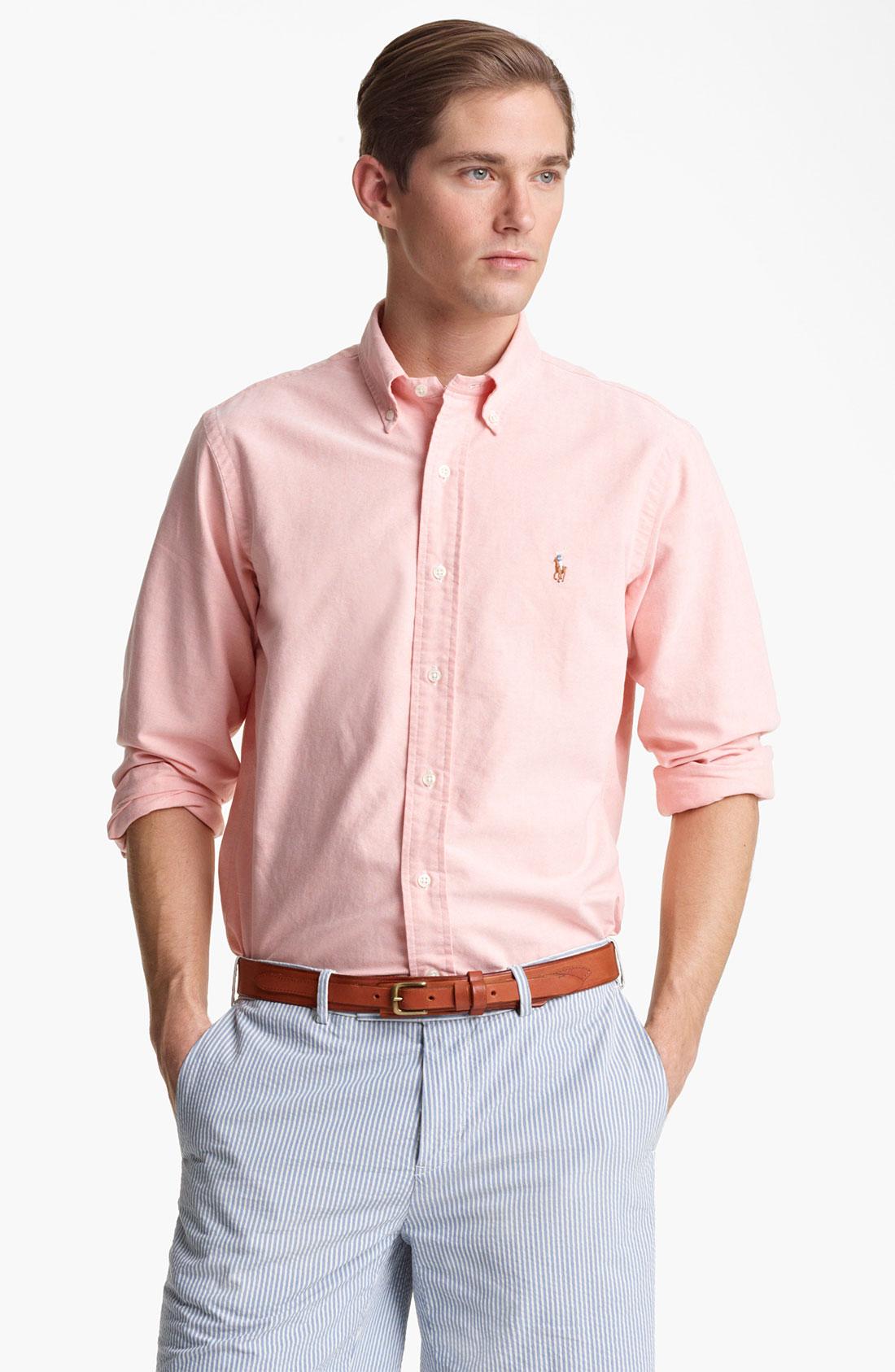 Polo ralph lauren Custom Fit Oxford Shirt in Orange for Men | Lyst