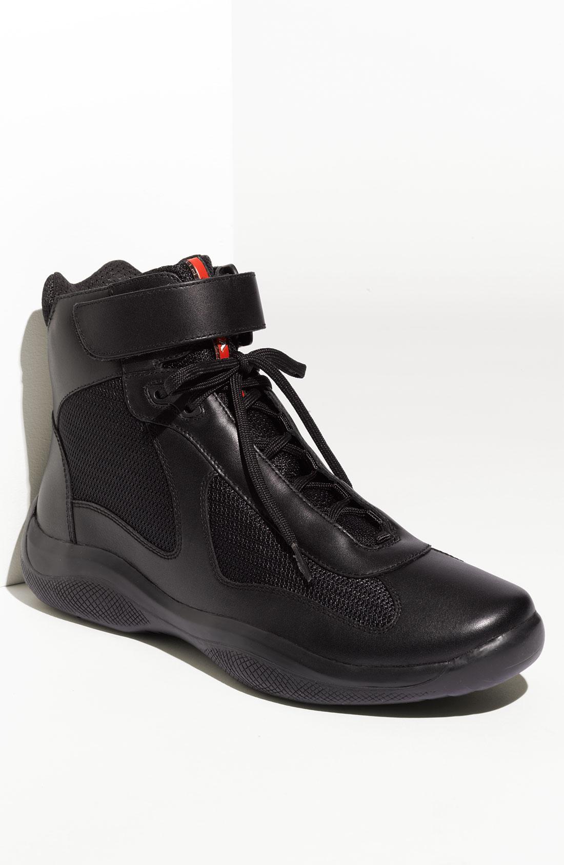 Prada Americas Cup High Top Sneaker Men In Black For Men
